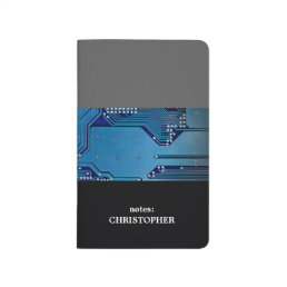 Modern Cool Grey Blue Circuit Board Computer Journal