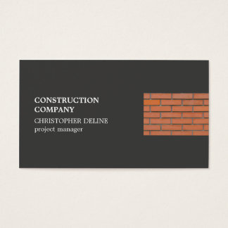 Modern Cool Grey Bricks Construction Industry Business Card