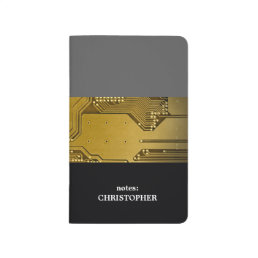 Modern Cool Grey Gold Circuit Board Computer Journal