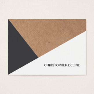 Modern Cool Kraft Paper Grey White Geometric Business Card