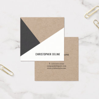 Modern Cool Kraft Paper Grey White Geometric Square Business Card