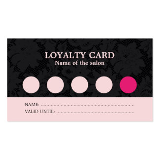Modern Cool Pink Black Lace Salon Loyalty Card Double-Sided Standard Business Cards (Pack Of 100)