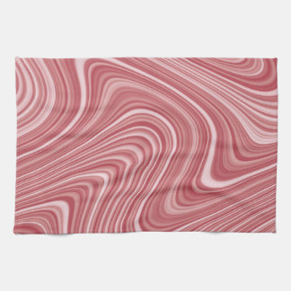 Modern Cool Red White Silver Grey Curvy Lines Hand Towel