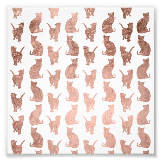 Modern cool rose gold cats pattern custom photo print