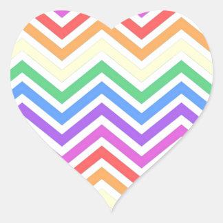 Modern, cool, trendy colorful rainbow chevron heart sticker