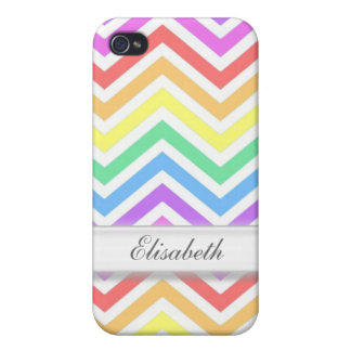 Modern, cool, trendy colorful rainbow chevron case for iPhone 4