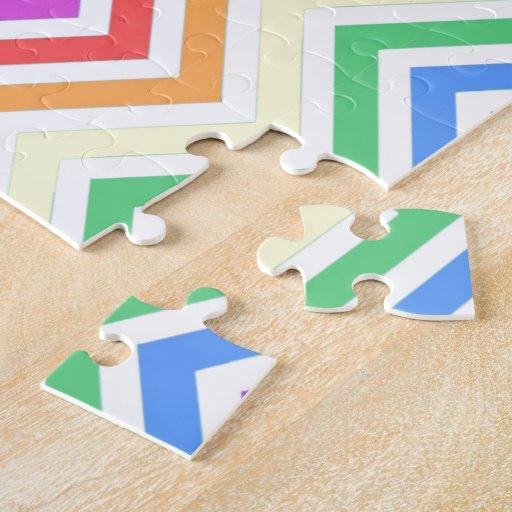 Modern, cool, trendy colorful rainbow chevron jigsaw puzzle