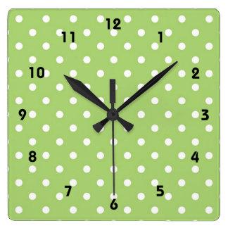 Modern, cool, trendy lime green polka dots square wall clock
