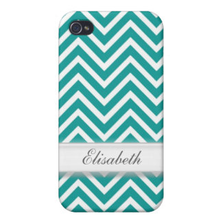 Modern, cool, trendy teal chevron zigzag pattern m iPhone 4 covers