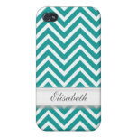 Modern, cool, trendy teal chevron zigzag pattern m iPhone 4/4S cover