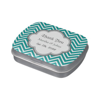 Modern, cool, trendy teal chevron zigzag pattern m jelly belly tin