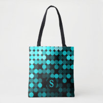Modern Cool Unique Turquoise Dots Pattern Monogram Tote Bag