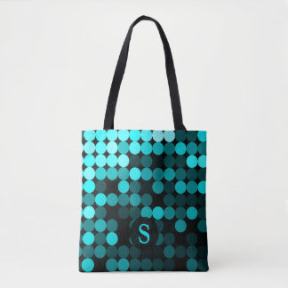 Modern Cool Unique Turquoise Dots Pattern Monogram Tote Bag
