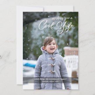 Modern Cool Yule Script Custom Photo Holiday Card