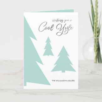 Modern Cool Yule Script Light Green Trees Photo Holiday Card