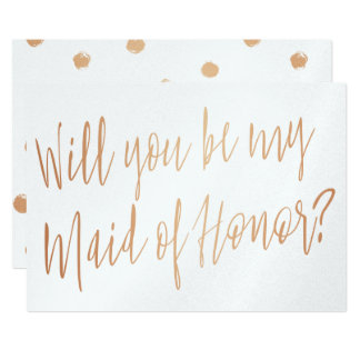 "Modern Cooper ""Will you be my maid of honor"" Card"