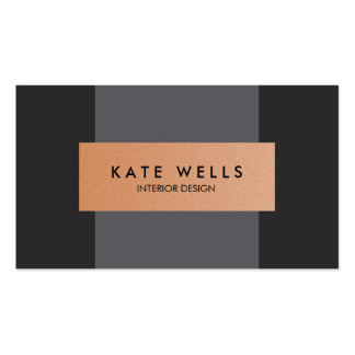 Modern Copper and Dark Purple Color Block Designer Double-Sided Standard Business Cards (Pack Of 100)