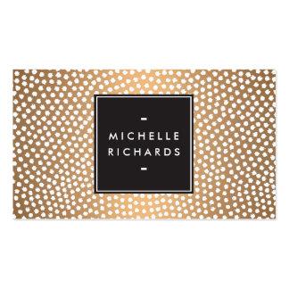 Modern Copper and White Confetti Dots Business Card