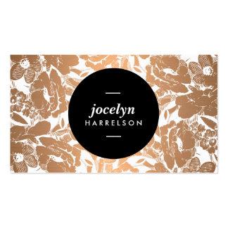 Modern Copper Flowers Black Circle Business Card