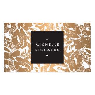 Modern Copper Flowers Business Card