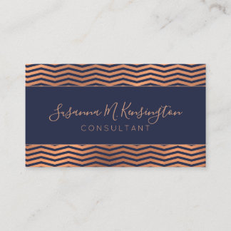 Modern Copper Rose Gold Foil Navy Blue Chevron Business Card