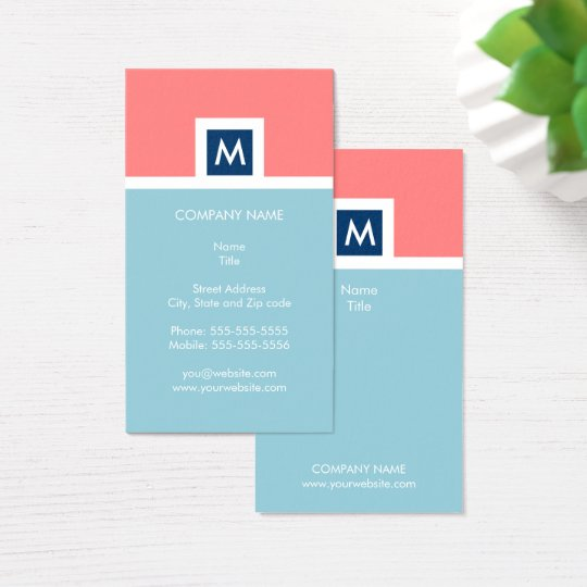 Modern Coral and Blue Monogram Business Card