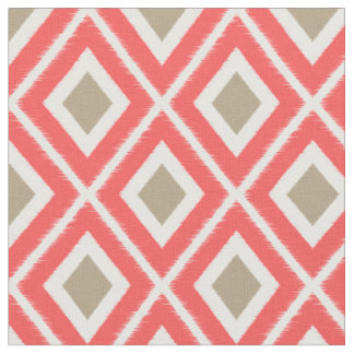 Modern Coral and Brown Beige Ikat Pattern Fabric