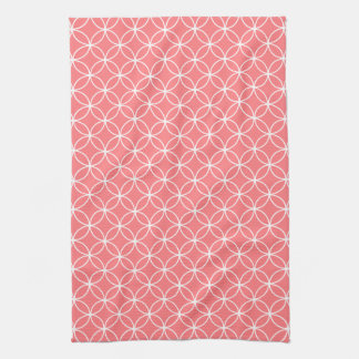 Modern Coral and White Circle Diamond Pattern Towels