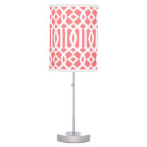 Modern Coral and White Trellis Pattern Table Lamp