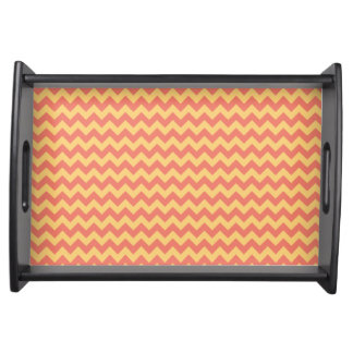 Modern Coral and Yellow Chevron Zigzag Pattern Serving Tray