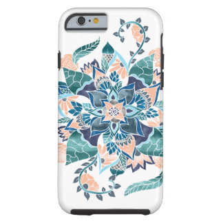 Modern coral blue watercolor floral illustration tough iPhone 6 case