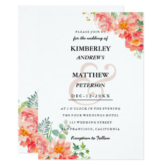 Modern coral blush pink watercolor elegant Wedding Invitation