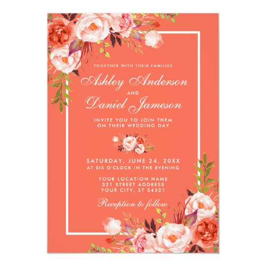 Coral And White Wedding Invitations: Modern Coral Floral White Frame Wedding Invitation