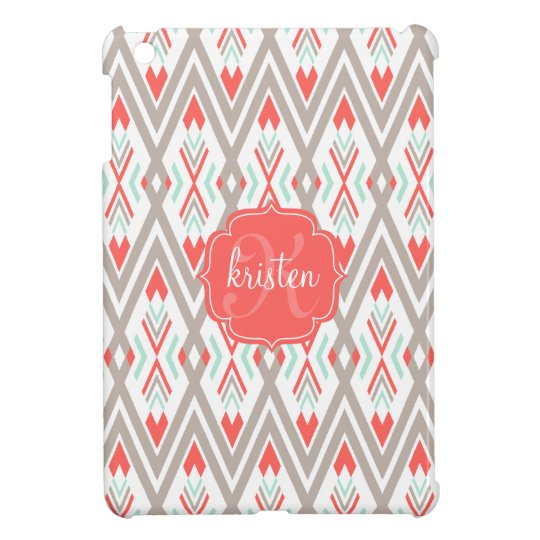 Modern Coral Geometric Tribal Aztec Personalized Case For The iPad Mini
