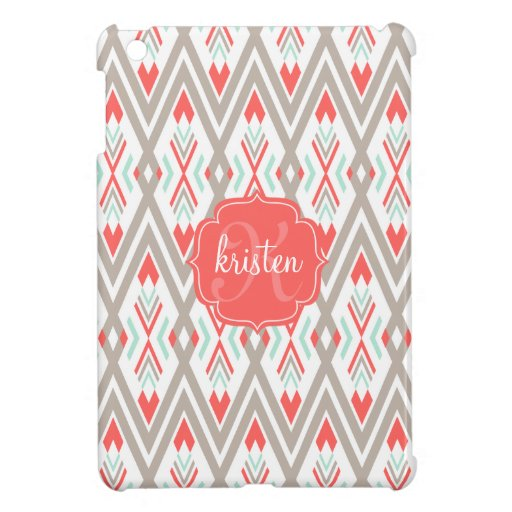 Modern Coral Geometric Tribal Aztec Personalized iPad Mini Cover