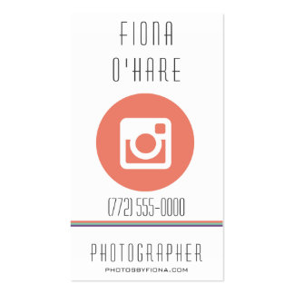Modern Coral Icon Photographer Business Card