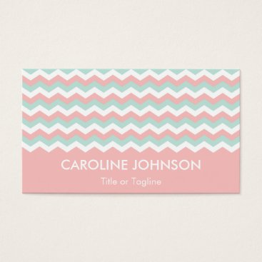 Professional Business Modern Coral Mint Green White Chevron Zigzag Business Card