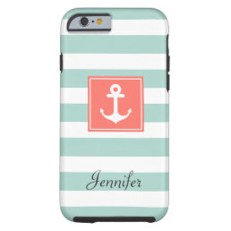 Modern Coral Nautical Anchor Mint White Stripes Tough iPhone 6 Case