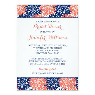 Modern Coral Navy Blue Flower Bridal Shower Card