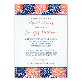 Modern Coral Navy Blue Flower Bridal Shower Card