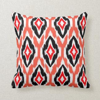 Modern coral peach Ikat Tribal Pattern 1a Pillow