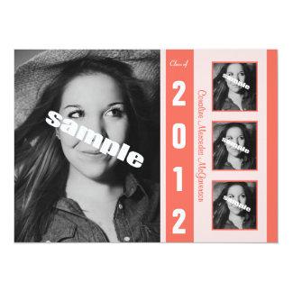 "Modern Coral Photo Graduation Announcement 5.5"" X 7.5"" Invitation Card"