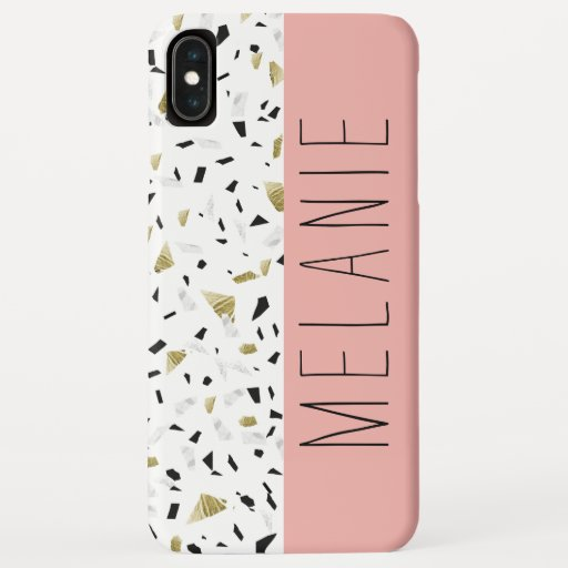 Modern Coral Pink Gold Marble Terrazzo Pattern iPhone XS Max Case