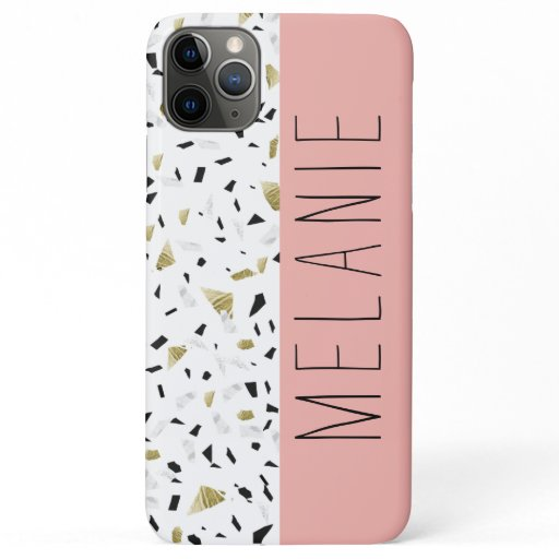 Modern Coral Pink Gold Marble Terrazzo Pattern iPhone 11 Pro Max Case