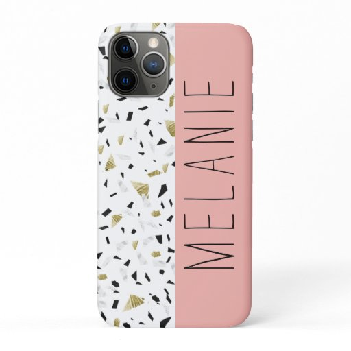 Modern Coral Pink Gold Marble Terrazzo Pattern iPhone 11 Pro Case