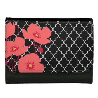 modern coral poppies wallet