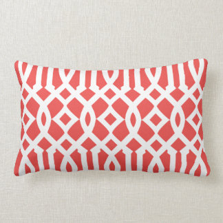 Modern Coral Red and White Imperial Trellis Lumbar Pillow