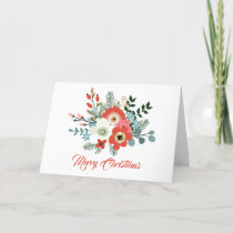 Modern Coral Red Floral Foliage Christmas Photo Holiday Card