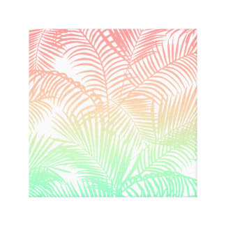 Modern coral turquoise tropical palm trees pattern canvas print