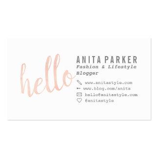 Modern coral watercolor brush hello script blogger business card